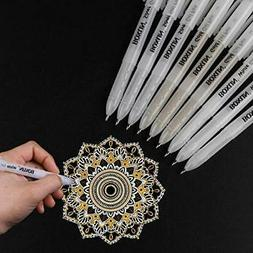 White Gold And Silver Gel Pen Set For Artist - 3 Colors 9 Pa